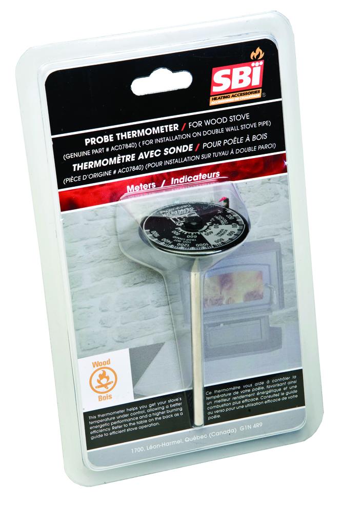 Thermostat magnétique avec sonde - Un appareil indispensable pour éviter de chauffer dans la créosote. Installation sur tuyau à double paroi.