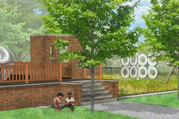 """""""A lot with a house set for demolition under The Fitzgerald Revitalization Project will be transformed into a space that reflects community history. Amenities include multi-generational seating, reclaimed platform, tunnel and tire structures allowing kids of all ages to climb and play, and plants and signage encouraging sustainability education."""""""