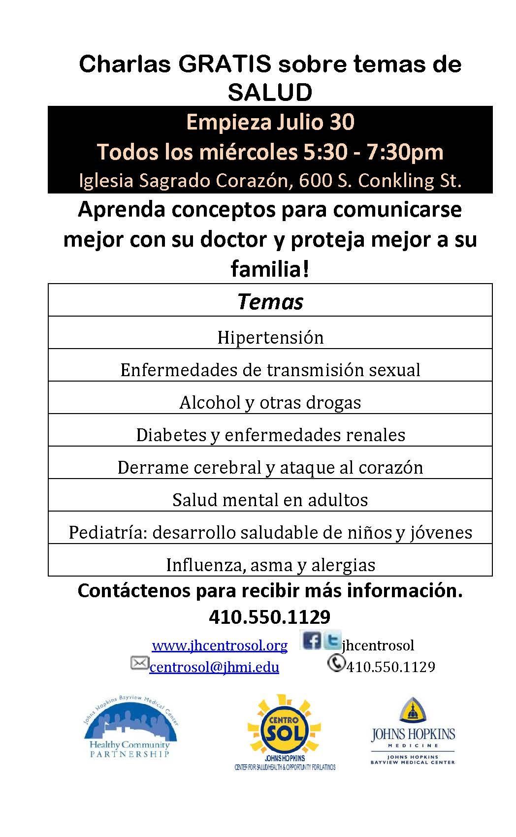 2014 Embajadores de Salud summer lectures flyer