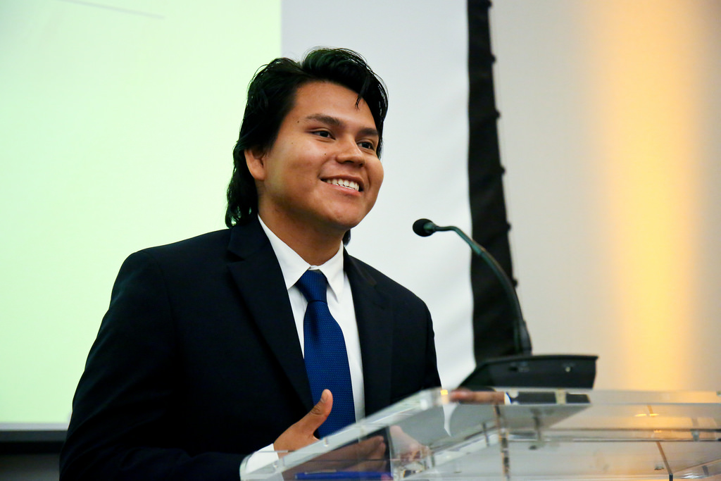 Former Summer Scholar,  Jose Dominguez , giving his acceptance speech for the MAEC Up and Coming Award.  Photo credit:  maec.org