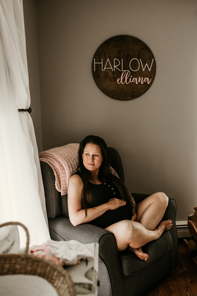 Maine maternity Breezy Photography pregnant boho bohemian lifestyle boudoir photo shoot black bra sweater
