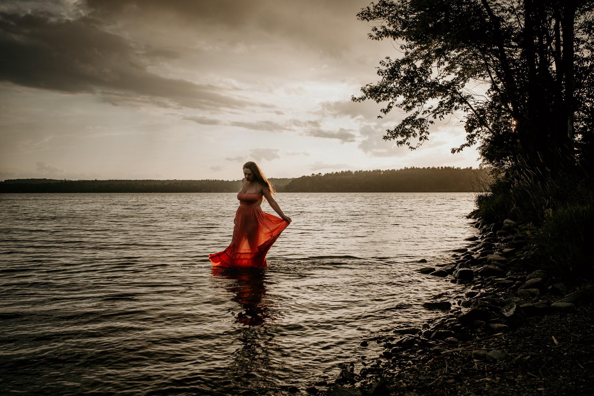 Maine Photographer Floral Dress Fedora Hat Pose Corinna Lifestyle