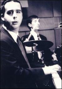 Photo from Opperman's debut performance at Berklee College of Music -Feb. 9, 1999 w/drummer John Duran  Photo by Julie Schrieber.