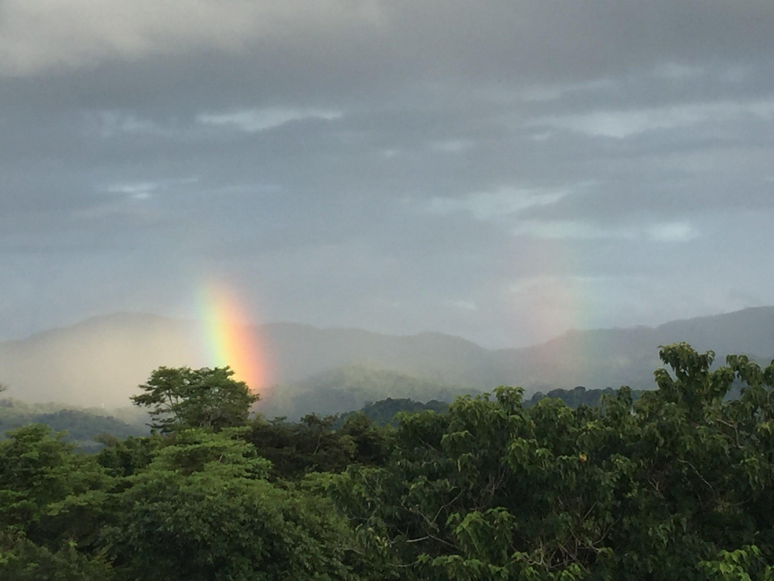 double rainbow over property