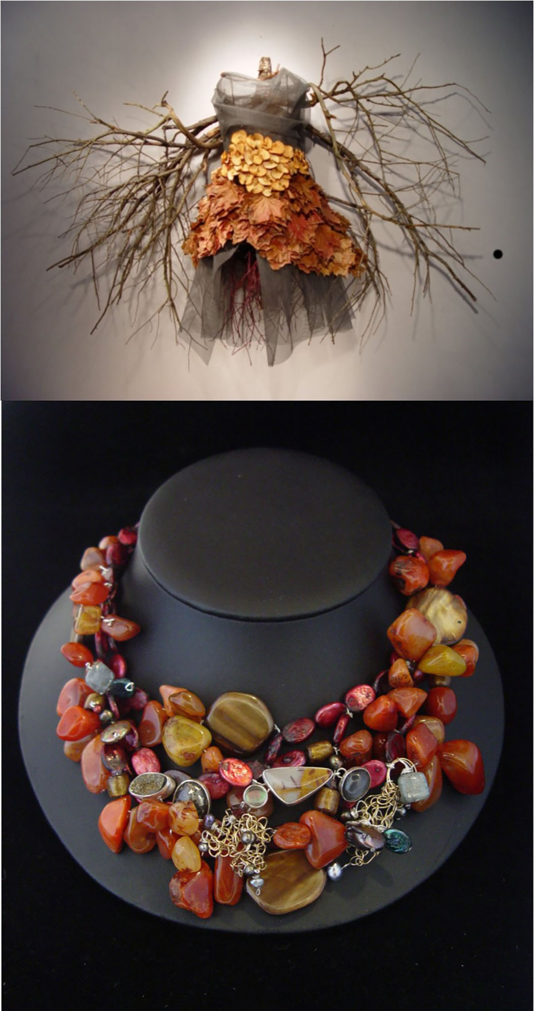 Shown at top: Fall Dress, from the series Entropy; Carnelian Necklace.