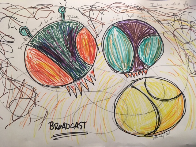 A tennis ball and two insects emerged from my expressive arts doodle-draw about my WHY. The message of the drawing, when processed, was   Just Be You  .