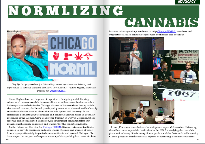 Kiana Hughes, Education Director for Chicago NORML in the latest issue of CannaHealth Magazine