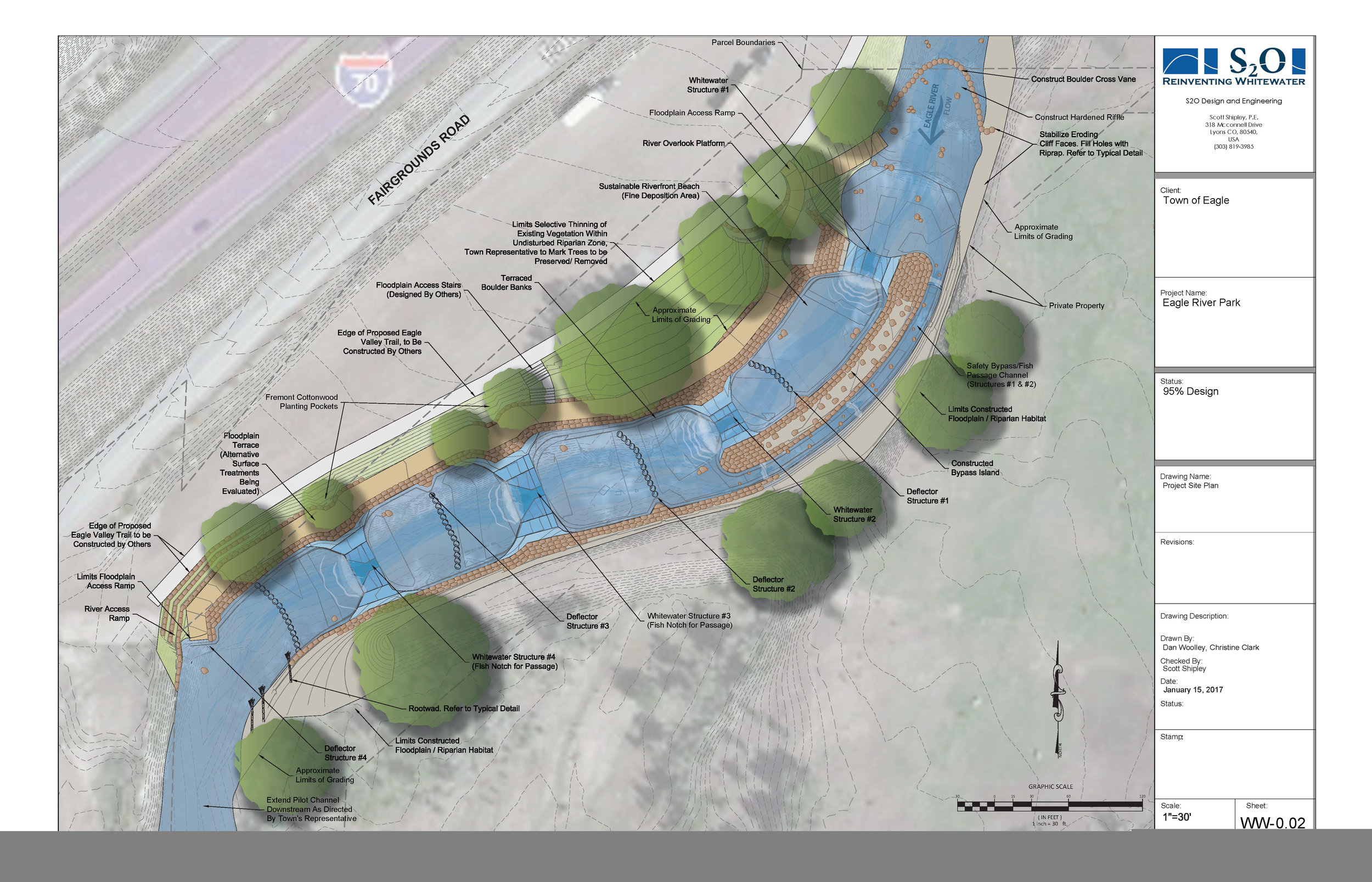 The plans for the Eagle River Whitewater Park, including parks and new green space along the riverbanks. Courtesy S2O