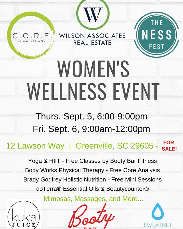 I know I know I know! I've been a bit lazy on this account the last month except to (probably boringly) update you on my daily fitness habits. 😬 BUT. . . . I am participating in this awesome wellness event with some other amazing people in the health and wellness space here in Greenville. I'd love to see you there!