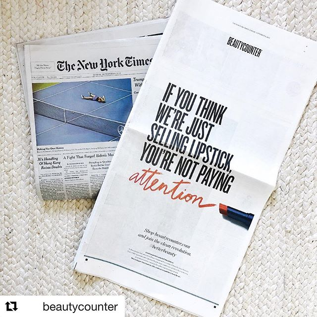 Shout out to my @beautycounter buddies for doing their part in helping us all reduce our toxic load and look good while doing it. 🙌🏼👏🏼💪🏼. . @jpdud @sarahpenneyreed @calvanicrew @beautycounterpineisland @natalierad @keepingitkrysten . #Repost @beautycounter with @get_repost ・・・ This is bigger than beauty—this is about a healthier future for all. We took out a full-page ad in the New York Times today (!!) because we believe that looking good is only half the picture. When it comes to the beauty industry, it's time for a clean revolution. Inspired? Click the link in our bio to learn more.