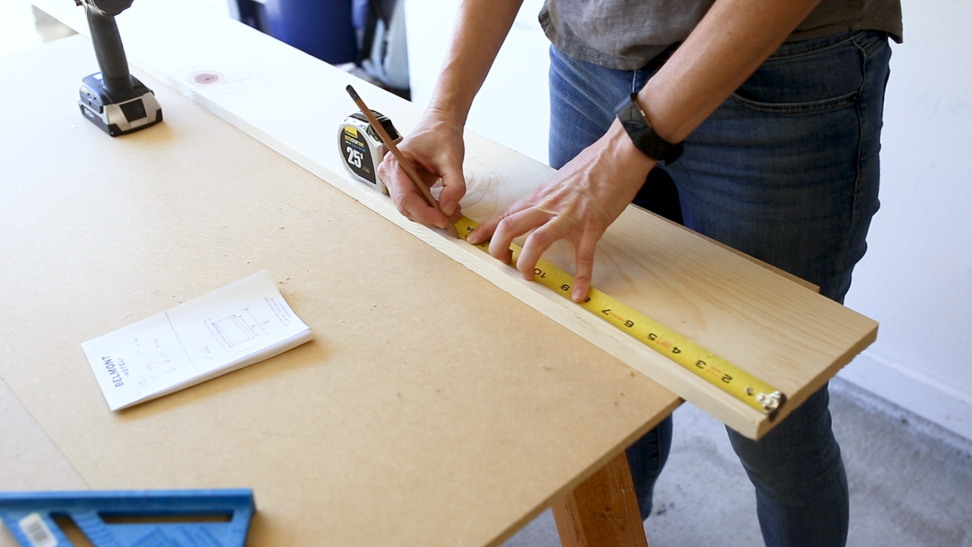 I started the project by picking up one 1x8 at Home Depot. I then measured for my three cuts
