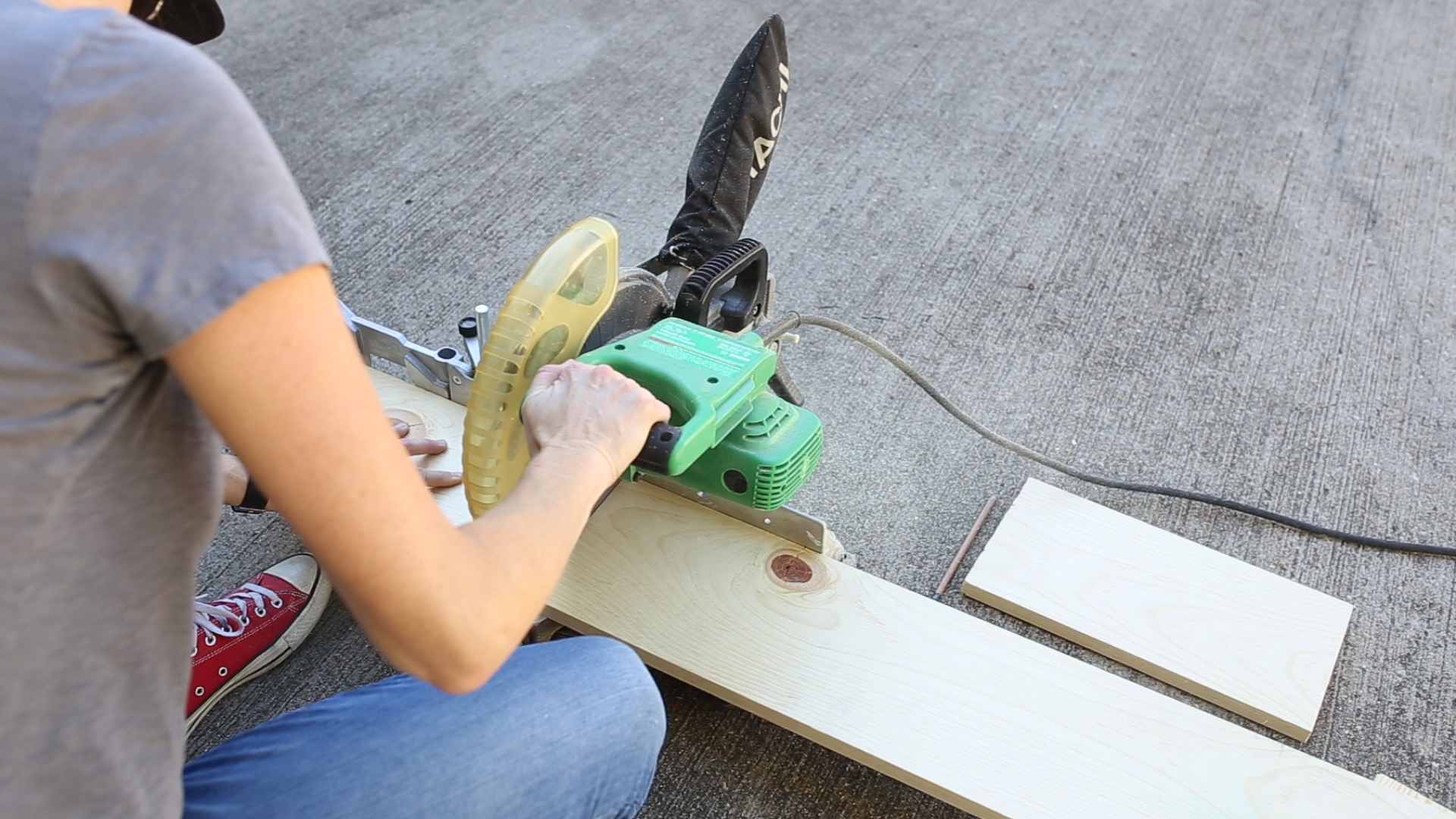 """I then cut three 14"""" long pieces with my  miter saw . I also could have used a  circular saw ."""