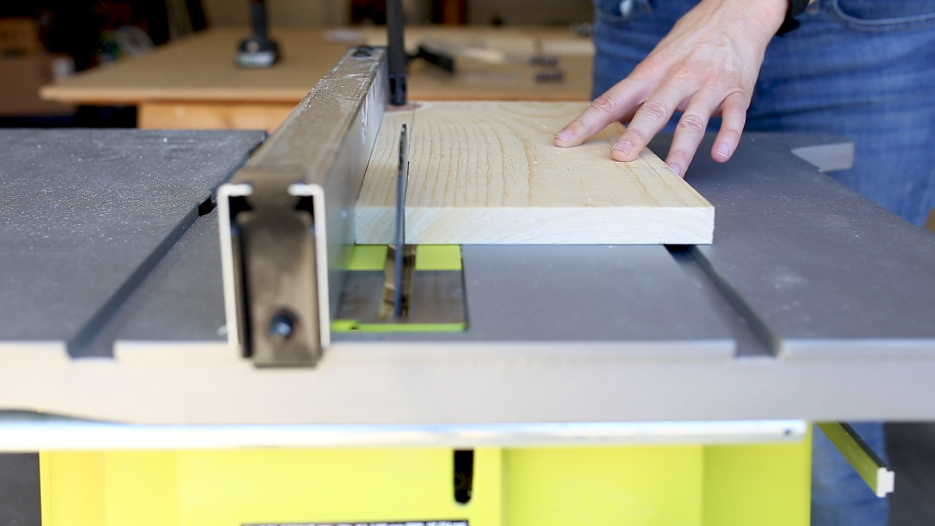 """Next I took one of the 14"""" pieces and cut down an inch to 6.25"""" wide on my  table saw . This narrower board will be the top."""