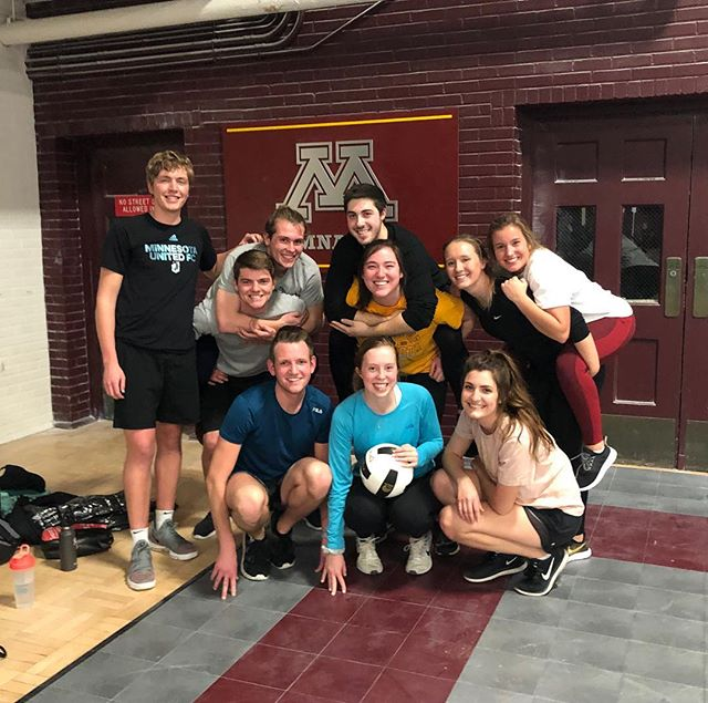 "Our powerful and athletic brothers took home a ""W"" tonight of 2-1 during a game of intramural volleyball. Shoutout to Peter Karos (not pictured) and Ryan Hostager for putting in the WORK! Congrats!"