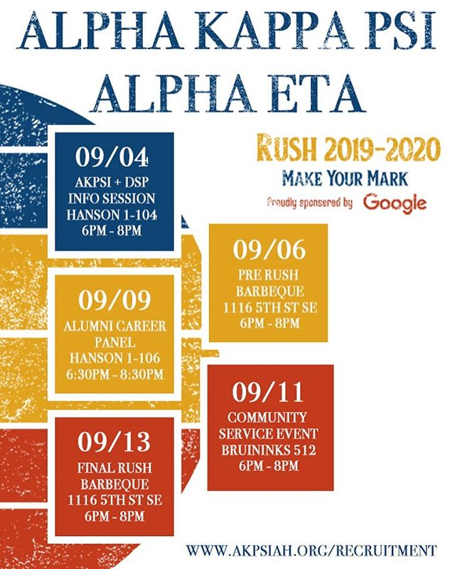 It's about that time... Come join us at our Fall Rush events to learn more about our brotherhood and how you can join!