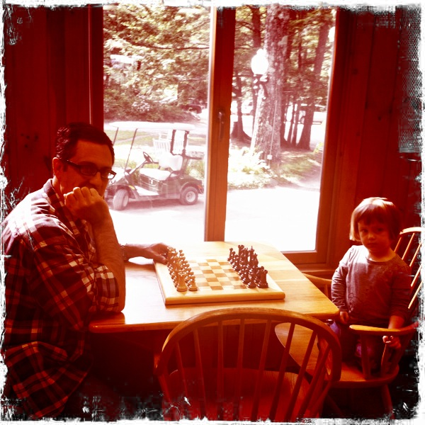 Rob and Beaz play a game of chess in the Lodge. Immediately after taking this picture I took my second nap of the day.