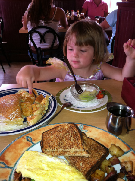 Vermont breakfasts almost make up for Vermont's bugs. By the way, she's dressed as a mermaid.