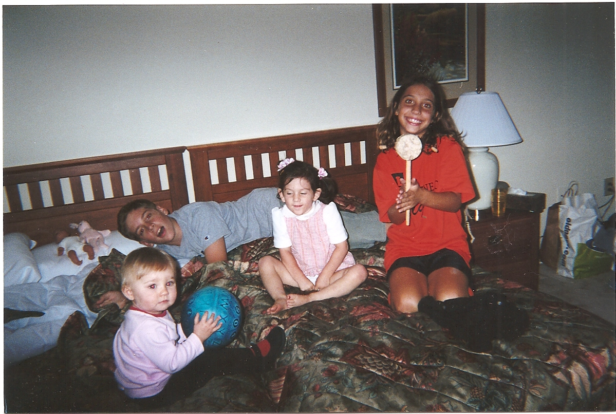 The grandchildren in the rental apartment the night my parents came home. Charlotte is in the middle.
