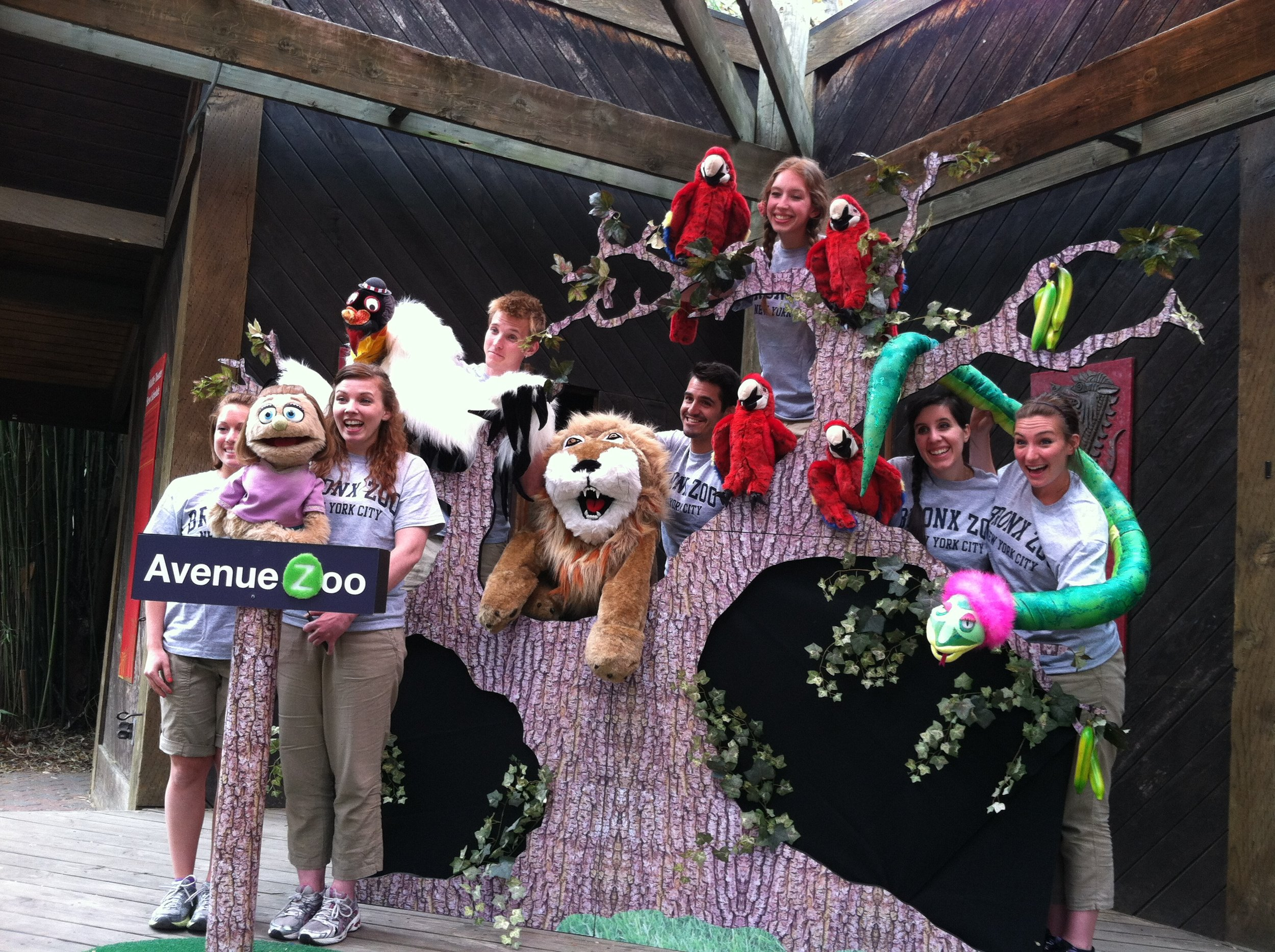 Cast of Avenue Zoo at the Bronx Zoo (co-written and directed by me).
