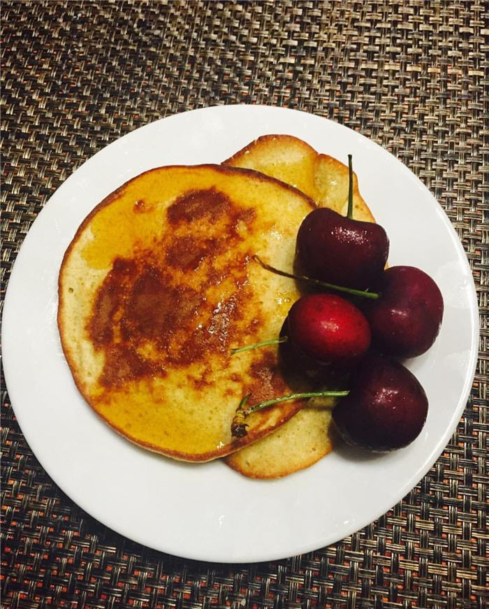 Bananas and Eggs Pancakes with Cherries