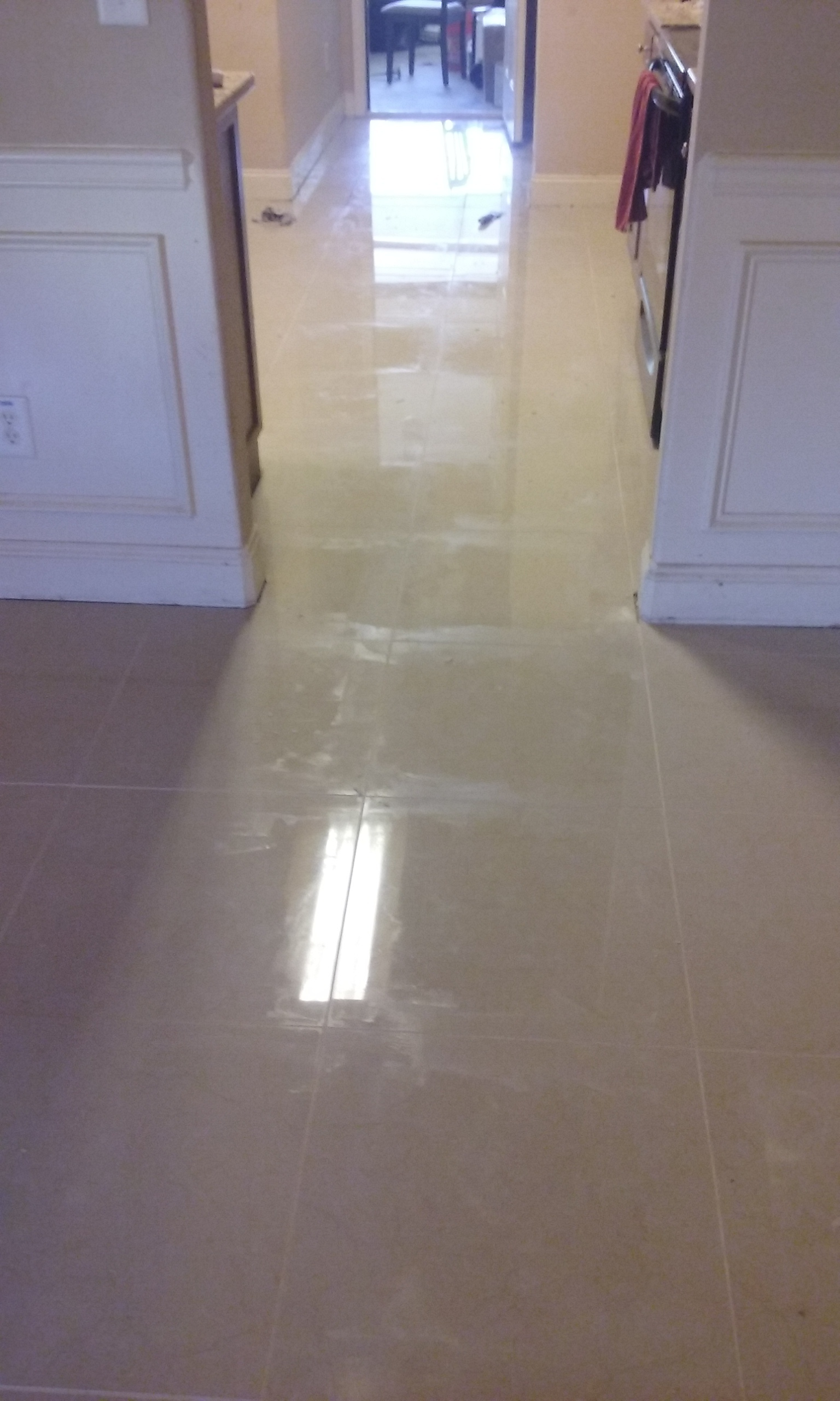 """24"""" x 24"""" Porcelain Tile Install (Right After Grout, Sorry for the Haze)"""