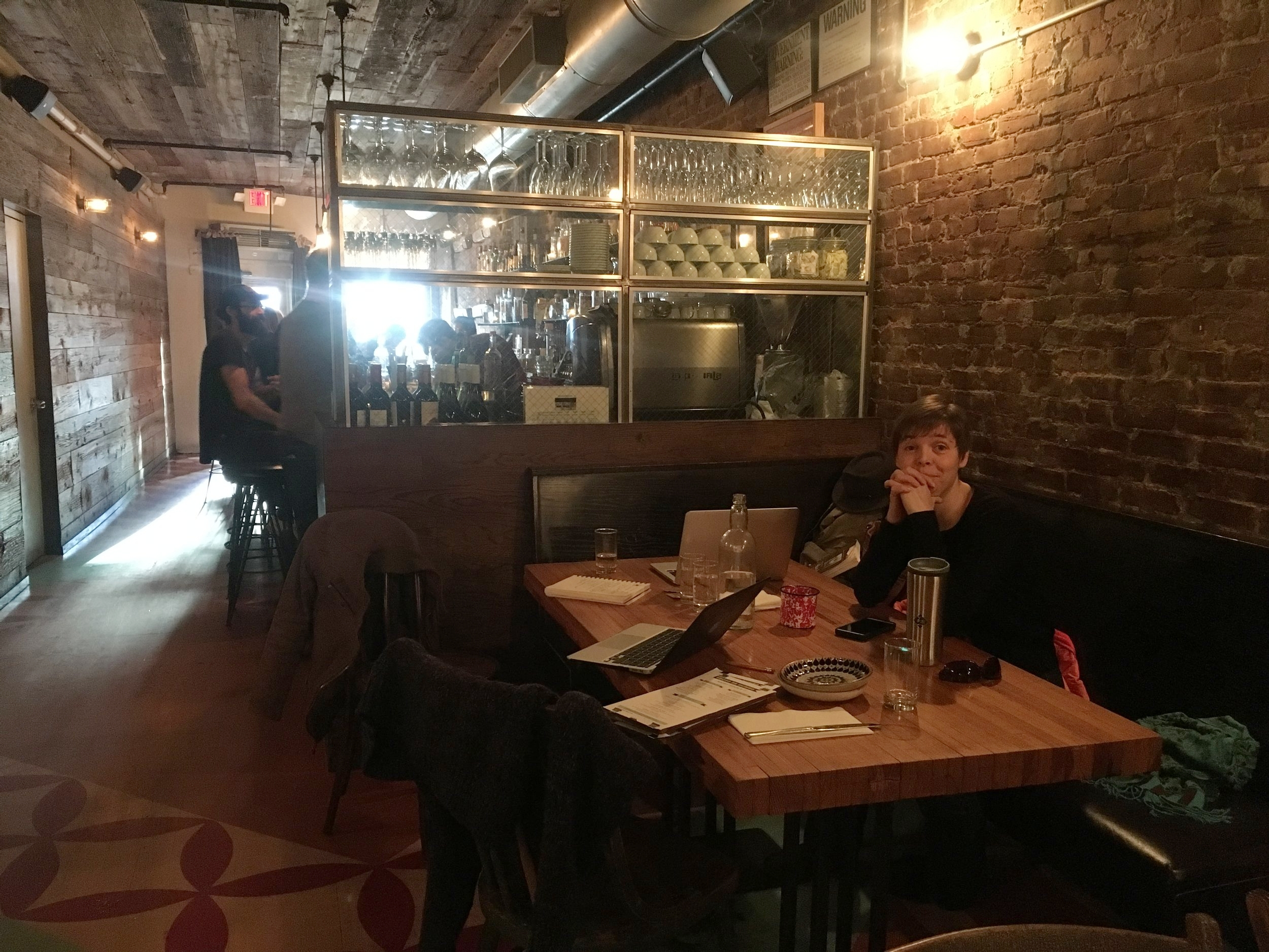 Louise at Ethan's restaurant, Hecho en Dumbo, in the early planning stages of NP&L