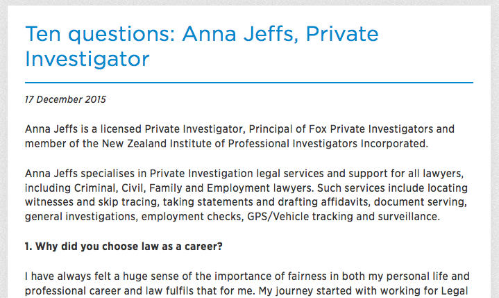 Read the full article  Ten Questions: Anna Jeffs from Law Society New Zealand »