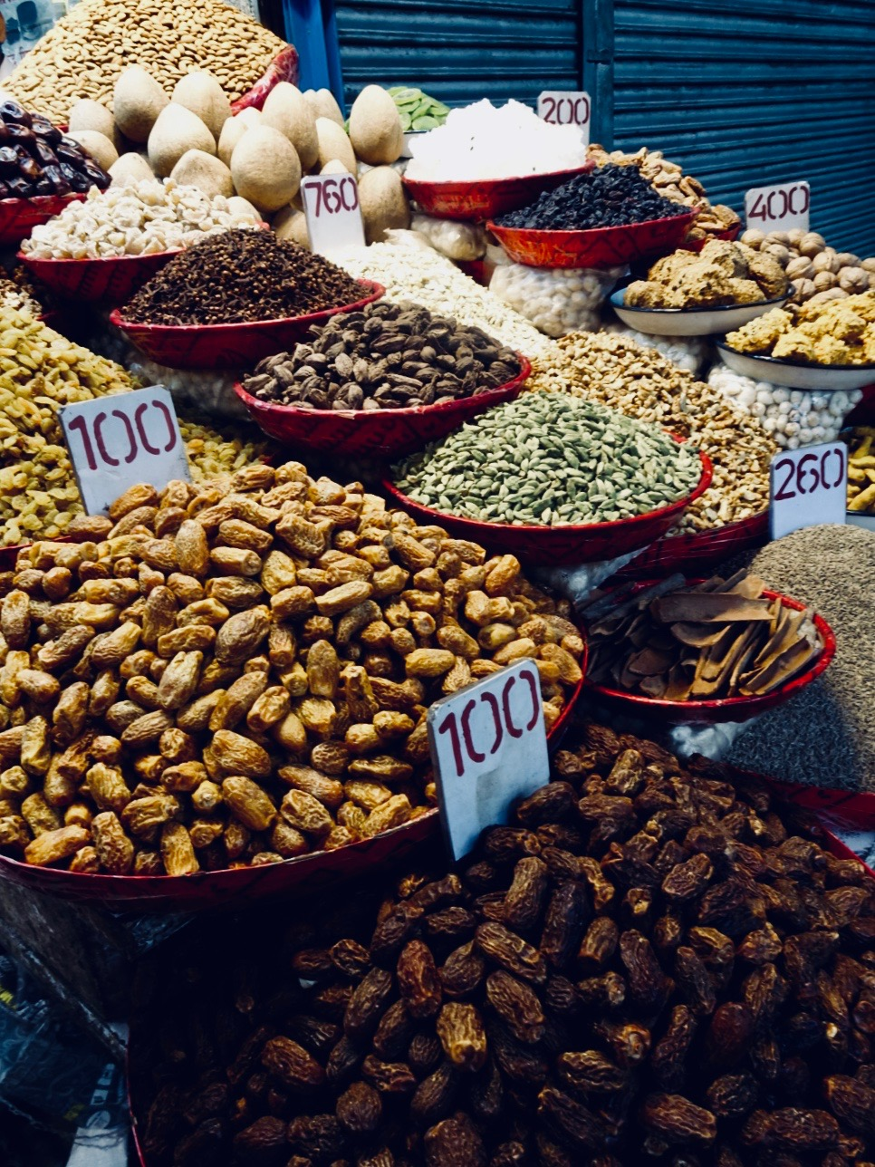I ate all the Karim's food too fast to take any photos… so here are some bowls of dried fruit and nuts in the spice market.