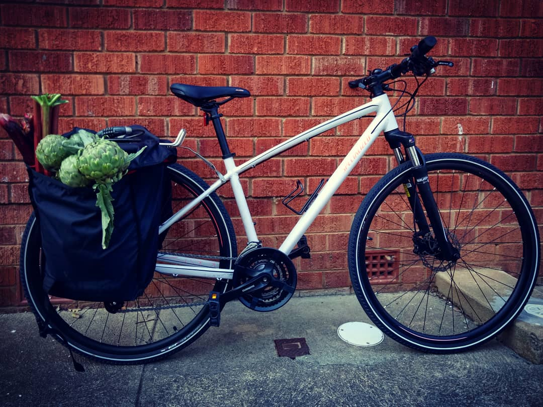 The panniers with a haul from the Farmers Market. So wholesome it hurts.
