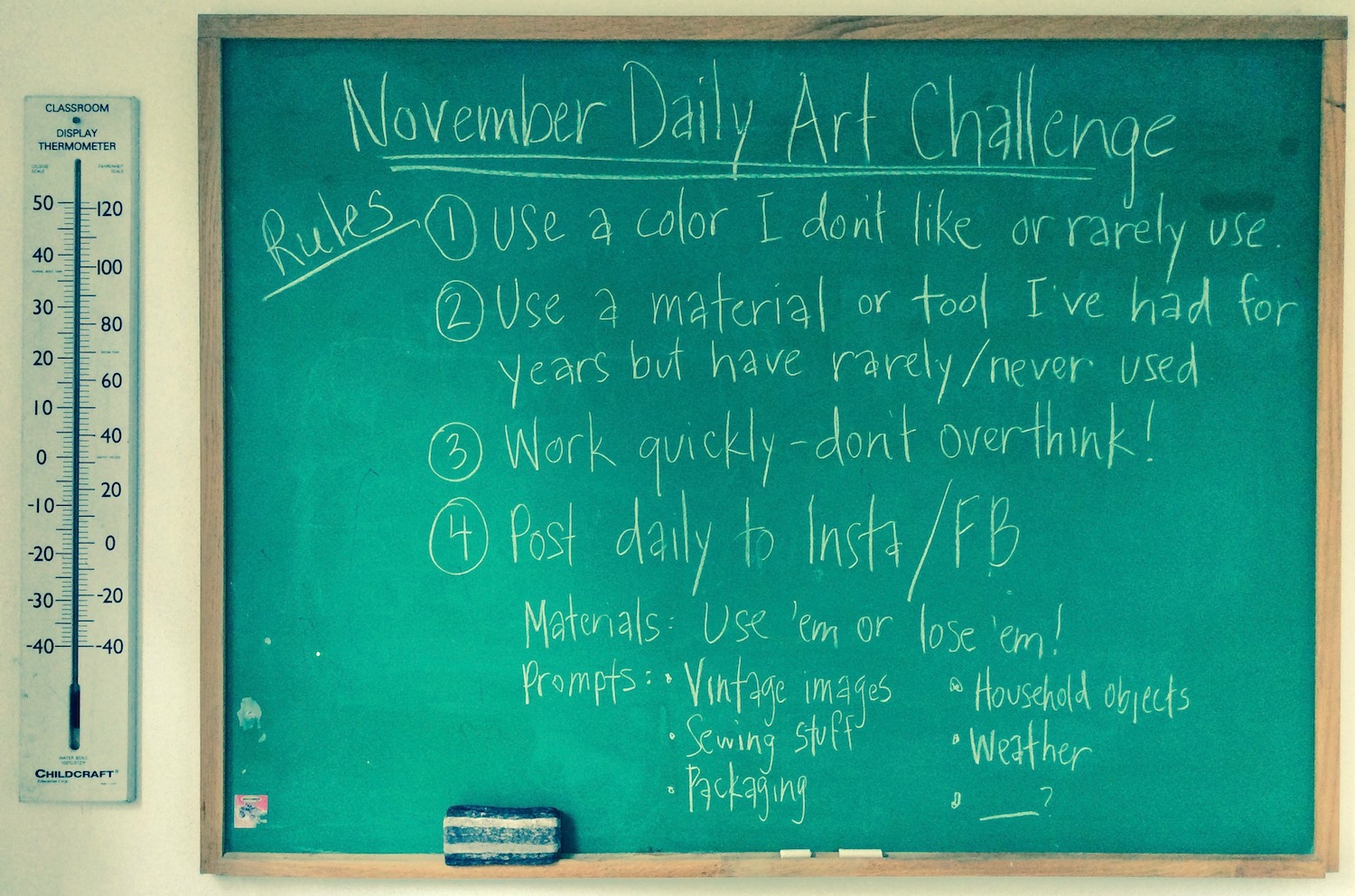 rules of November Daily Art Challenge
