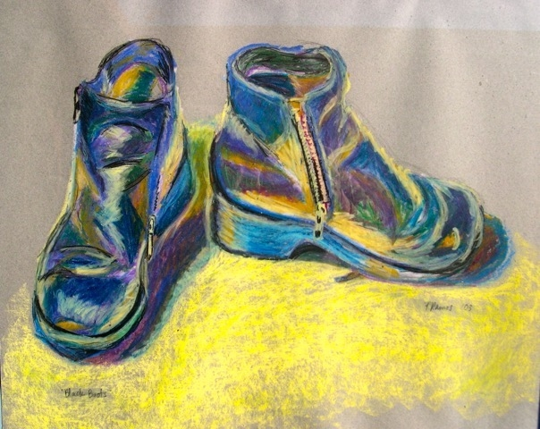 """oil pastel painting of """"black boots"""""""