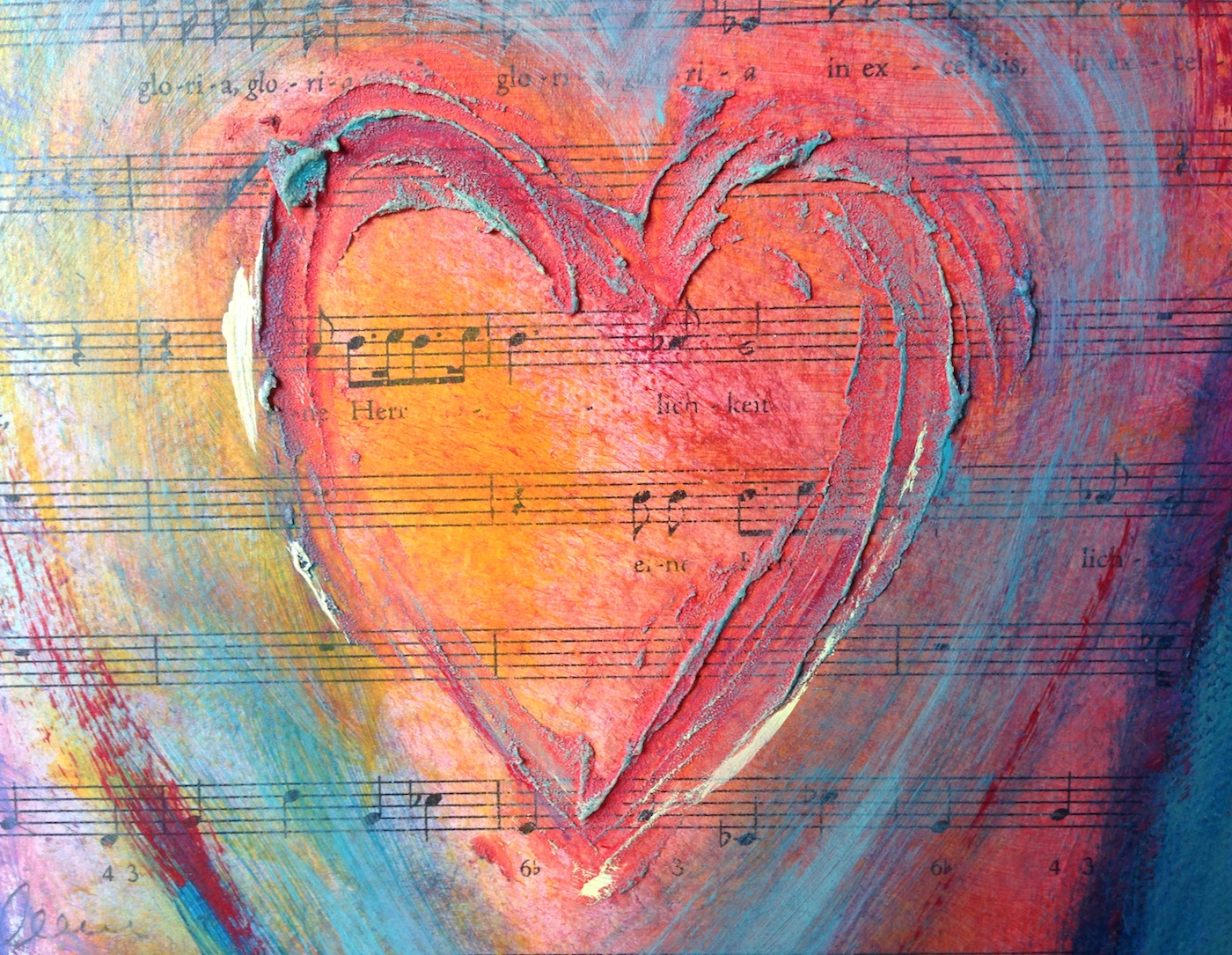 collage painting of a heart with music