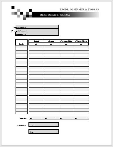 Reise & Diett  (Excel)