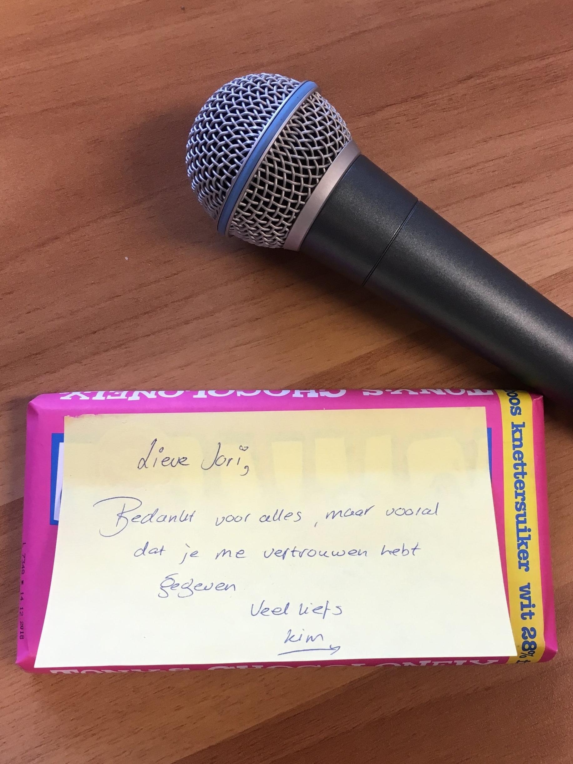 Een bedankje van Kim, nadat ik haar een aantal lessen heb gegeven ter voorbereiding op een musical uitvoering.