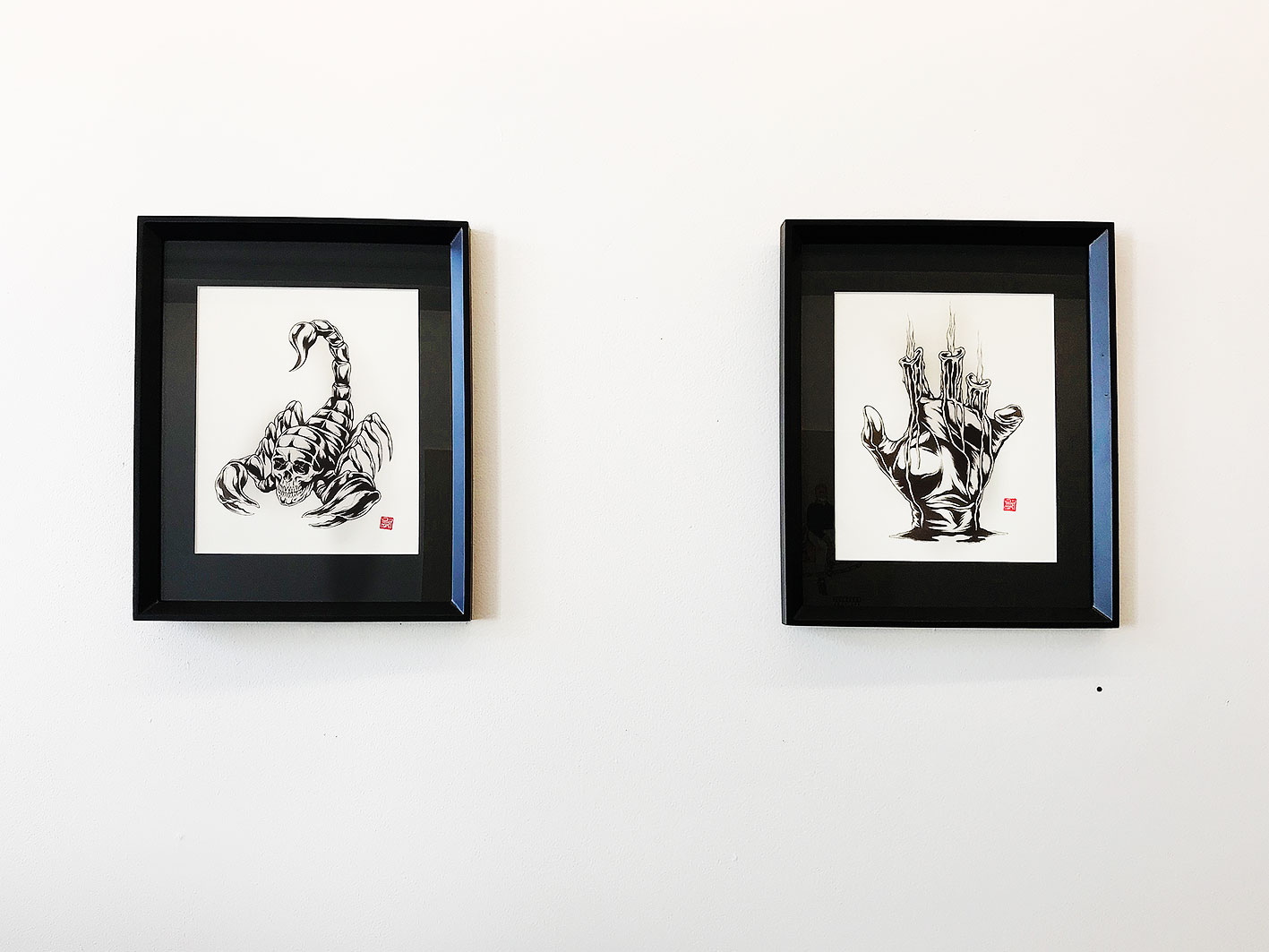 James Jirat Partradoon - (left to right) (1) Heavy Duty In The Mirror 2018 Ballpoint on paper 305 x 380 mm framed (2) Burning Shadow 2018 Ballpoint on paper 305 x 380 mm framed