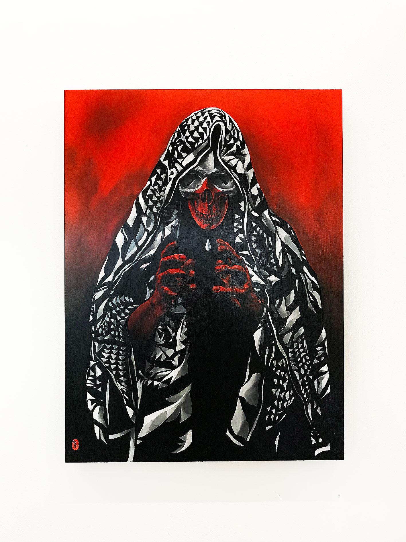 Kakusa Remashita 2018 Oil on cradled wood panel 457 x 610 mm