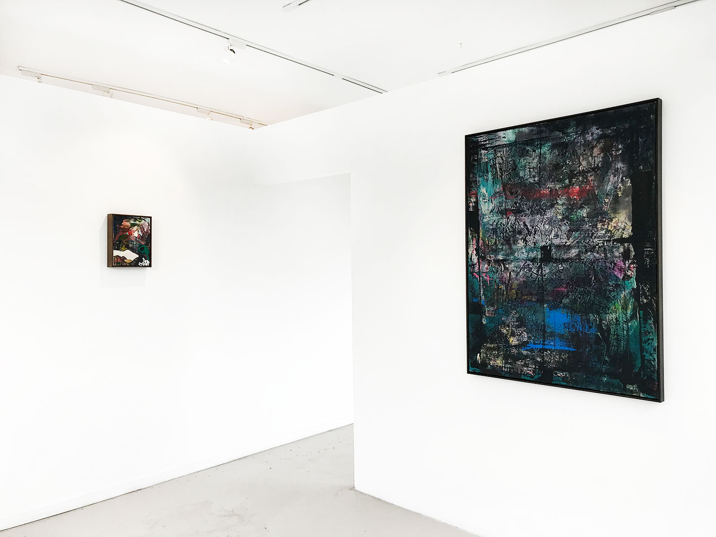(Left to Right) Nathan Jokovich -  Navigating a Landscape of Pulsating Contradiction  2016 Oil and Acrylic on Canvas 18 x 24 cm -  Nathan Jokovich -  Abstraction Redaction  2018 Oil and Acrylic Aerosol on Canvas 102.4 x 152.4 cm