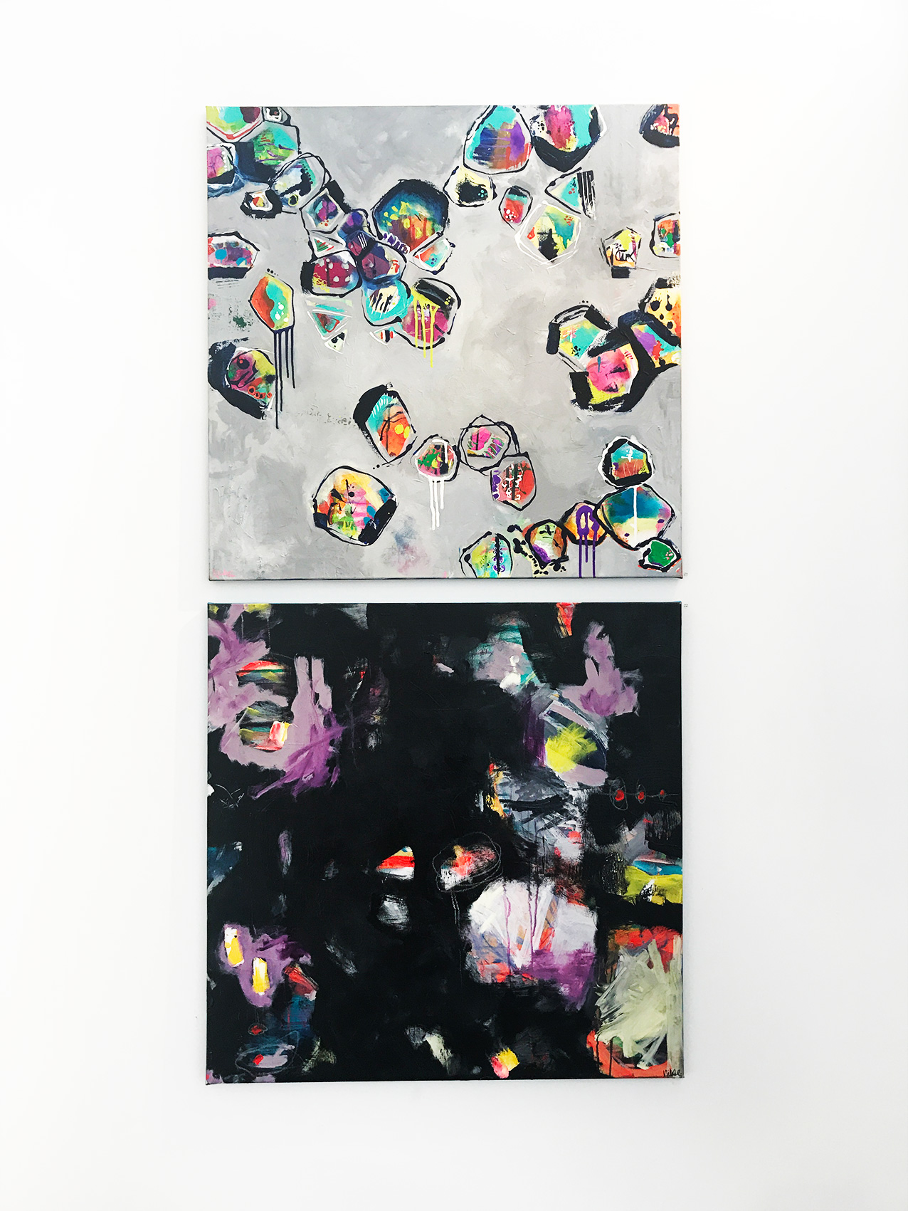 Nikki Coffelt,  (top to bottom)  Soul Graffiti, Beauty in the Dark  , Mixed media on canvas 92 x 92 cm