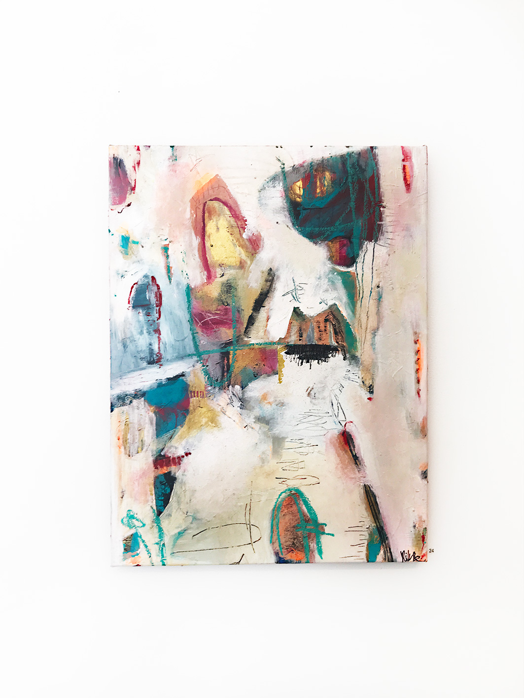 Nikki Coffelt,  Primitive , Mixed Media on canvas 46 x 61 cm