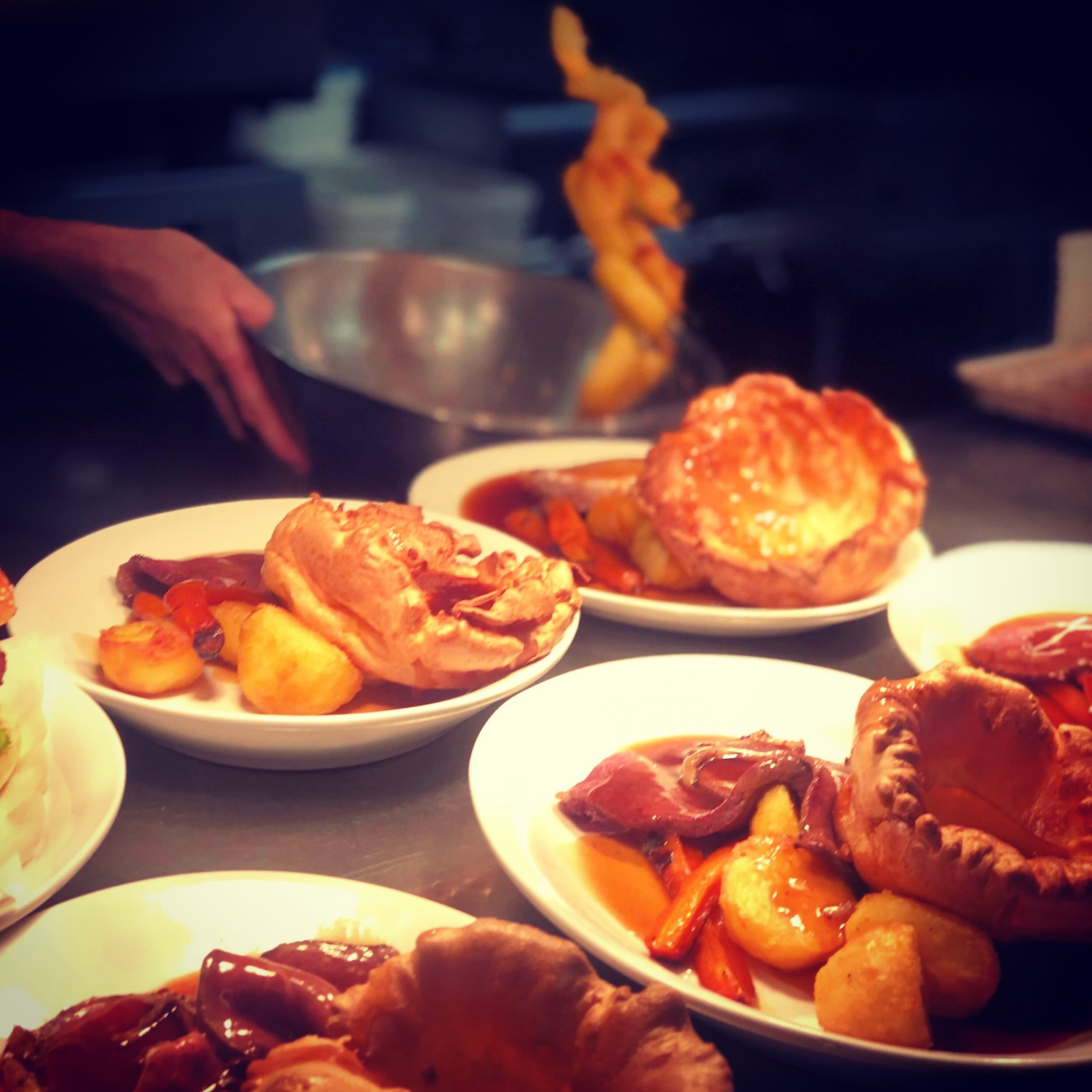 Sunday Roast - Served from midday onwards.Roast sirloin £15Roast pork loin £13Roast chicken supreme £12Nut roast £12all our roasts are served with roast potatoes, Yorkshire pudding, seasonal veg and gravyA selection of dishes from our main menu is available in addition to the selection of roasts.