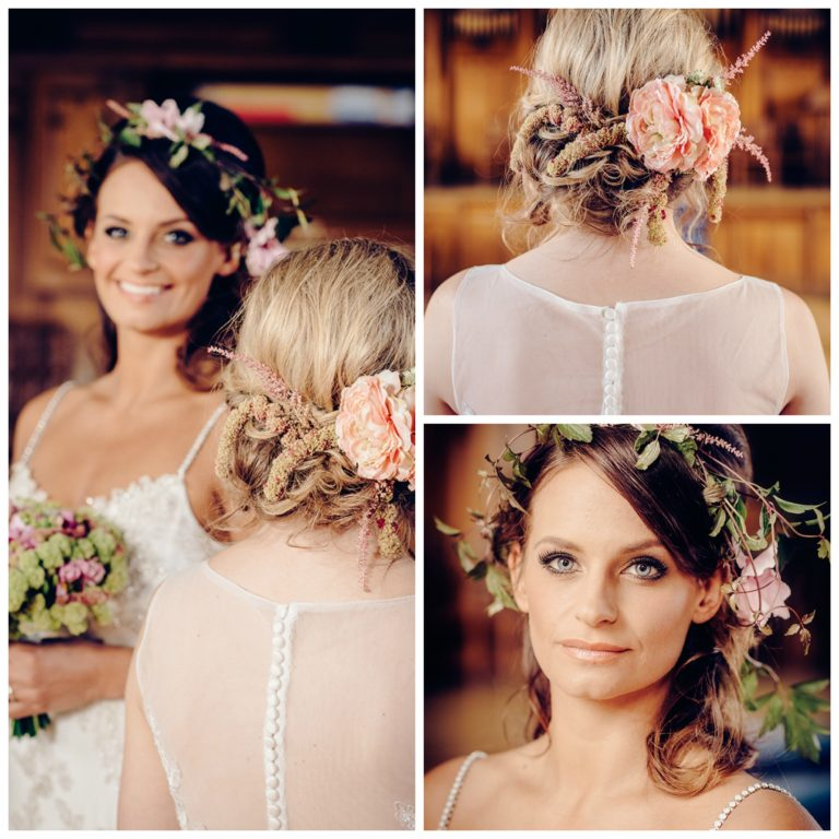 And finally the hair flowers!! Rebecca is wearing our wild flower crown to match her soft curls whilst our other design  has a more clustered look to match the twists and curls of the beautiful up do. We used a mixture of silk and real flowers in these designs and we really love them both.