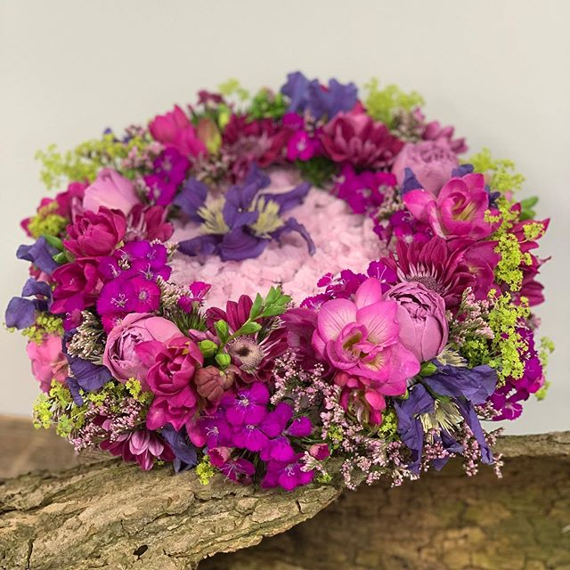 Something a little different for a bridal bouquet. 🙂 Pinks and purples with a light pink textural centre. #bridalflowers #pink #purple #raspberry