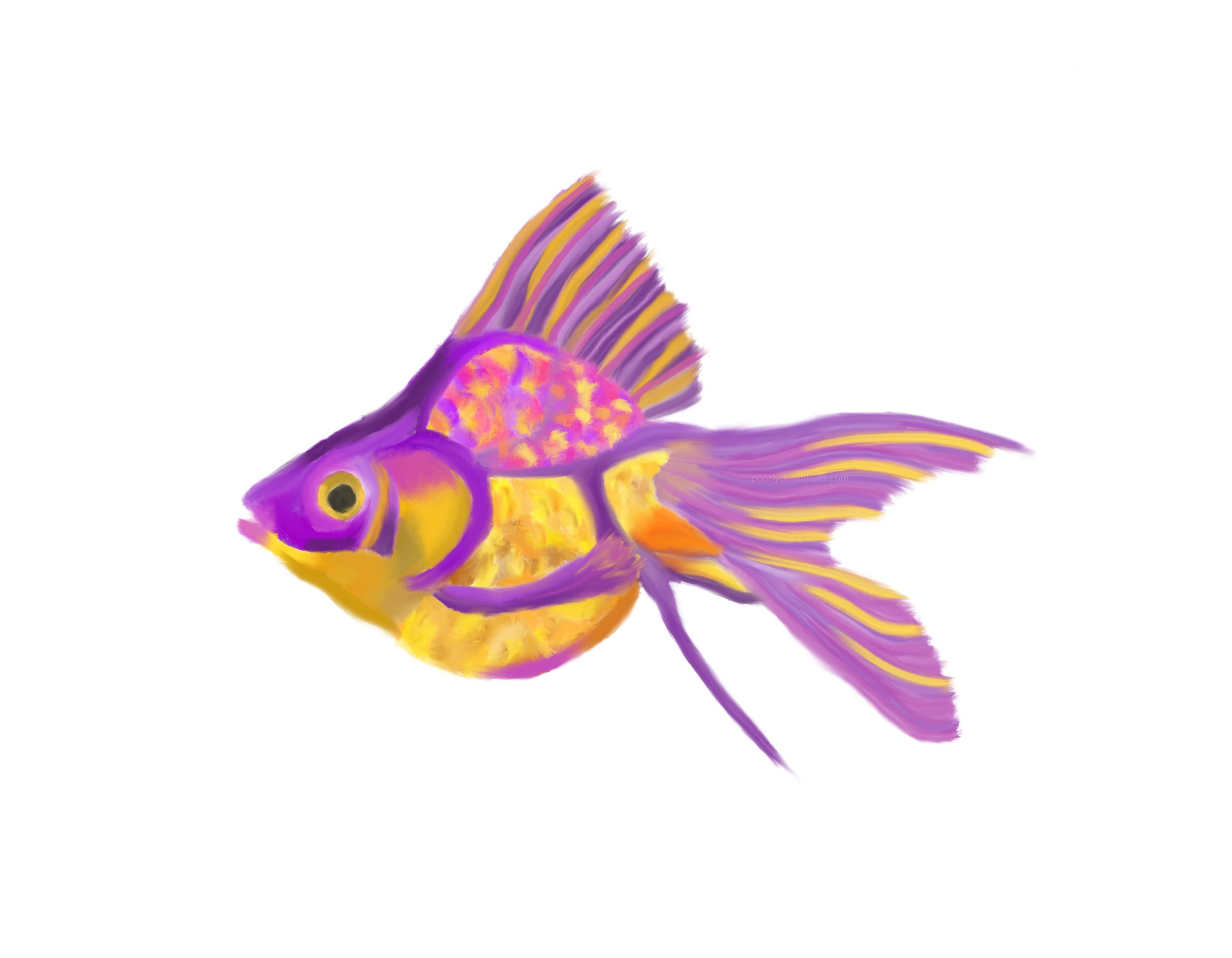 goldfish, purple fish, scales, painting, drawing, ipad, purple and gold