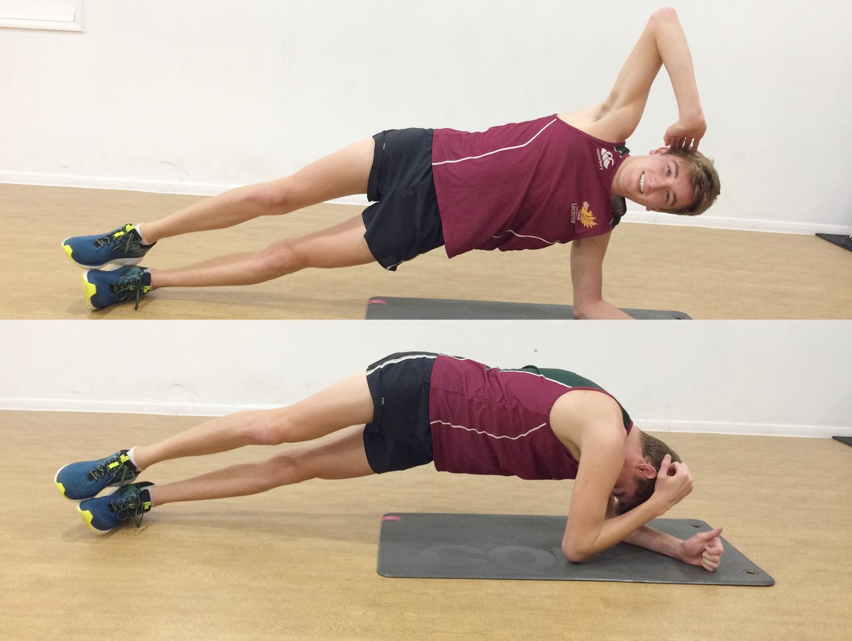 3) Twisting side plank   8 reps each side