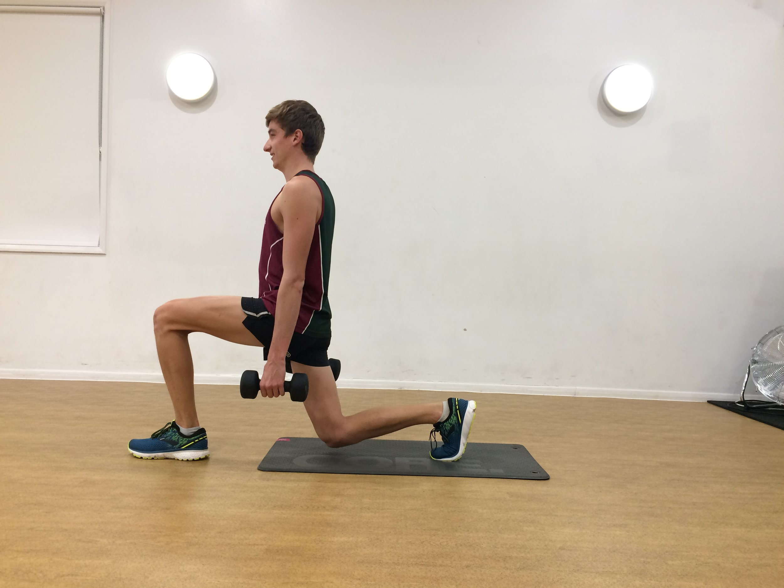 Weighted / Jump Lunges   12 each side.  If no weights available do  Jump lunge