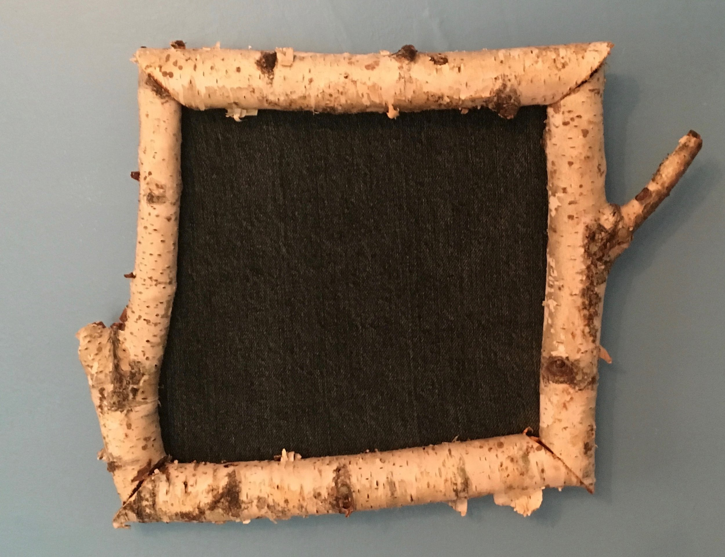 Michael and Sara Chaney birch bark picture frame with denim.jpg