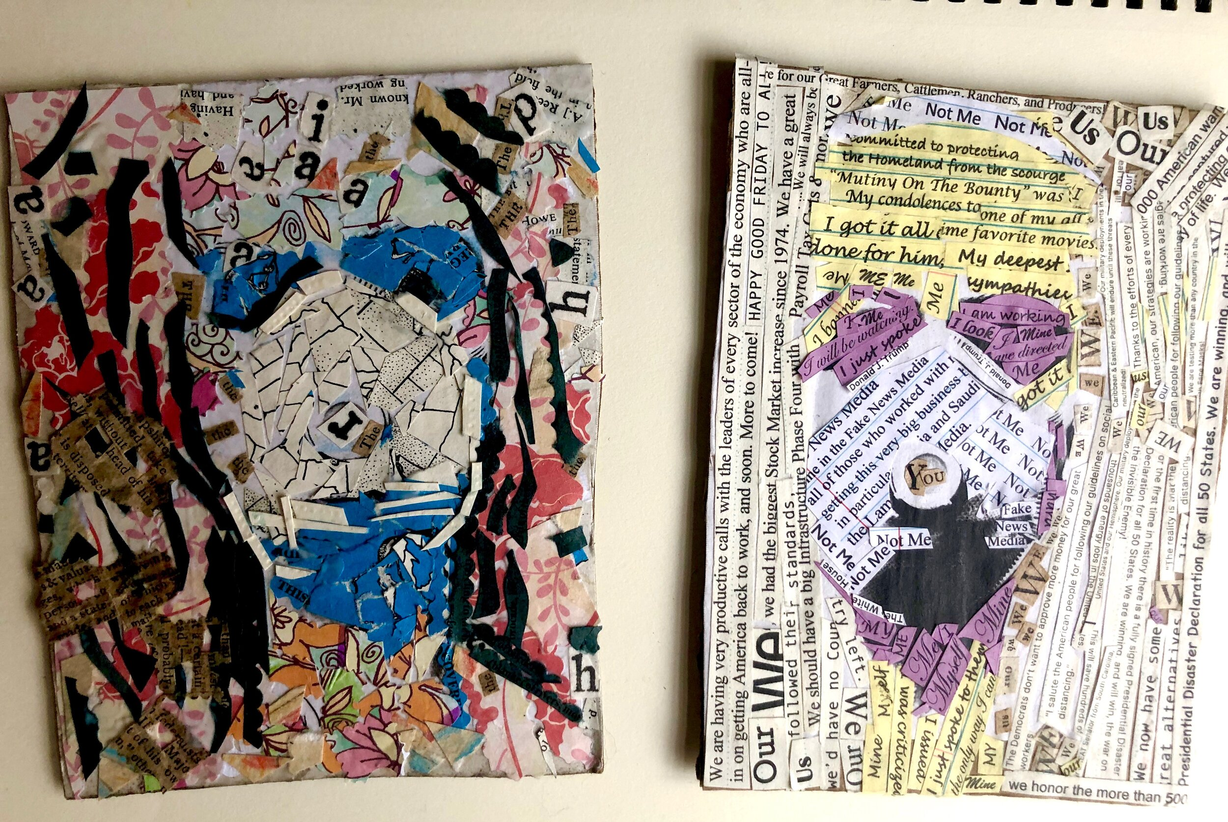 handcut collage art on a wood heart canvas Handcut Collage Art Original She/'s Crying