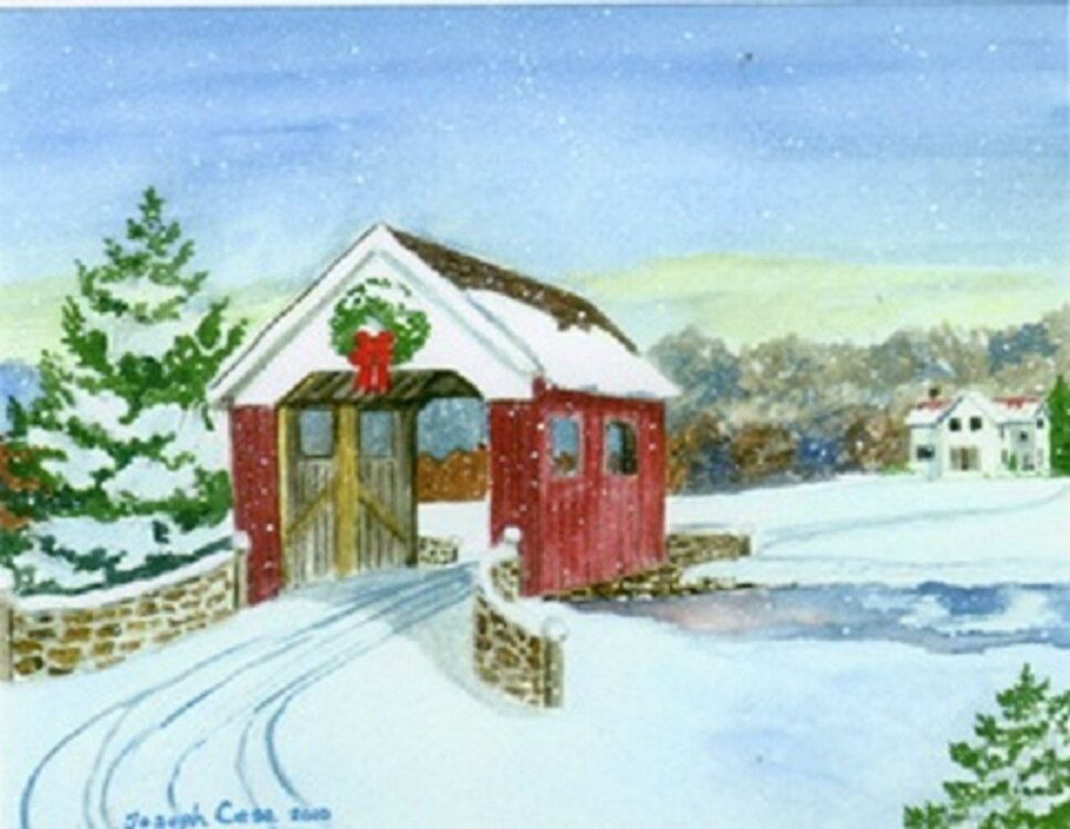Joe Cesa watercolor covered bridge snow.jpg