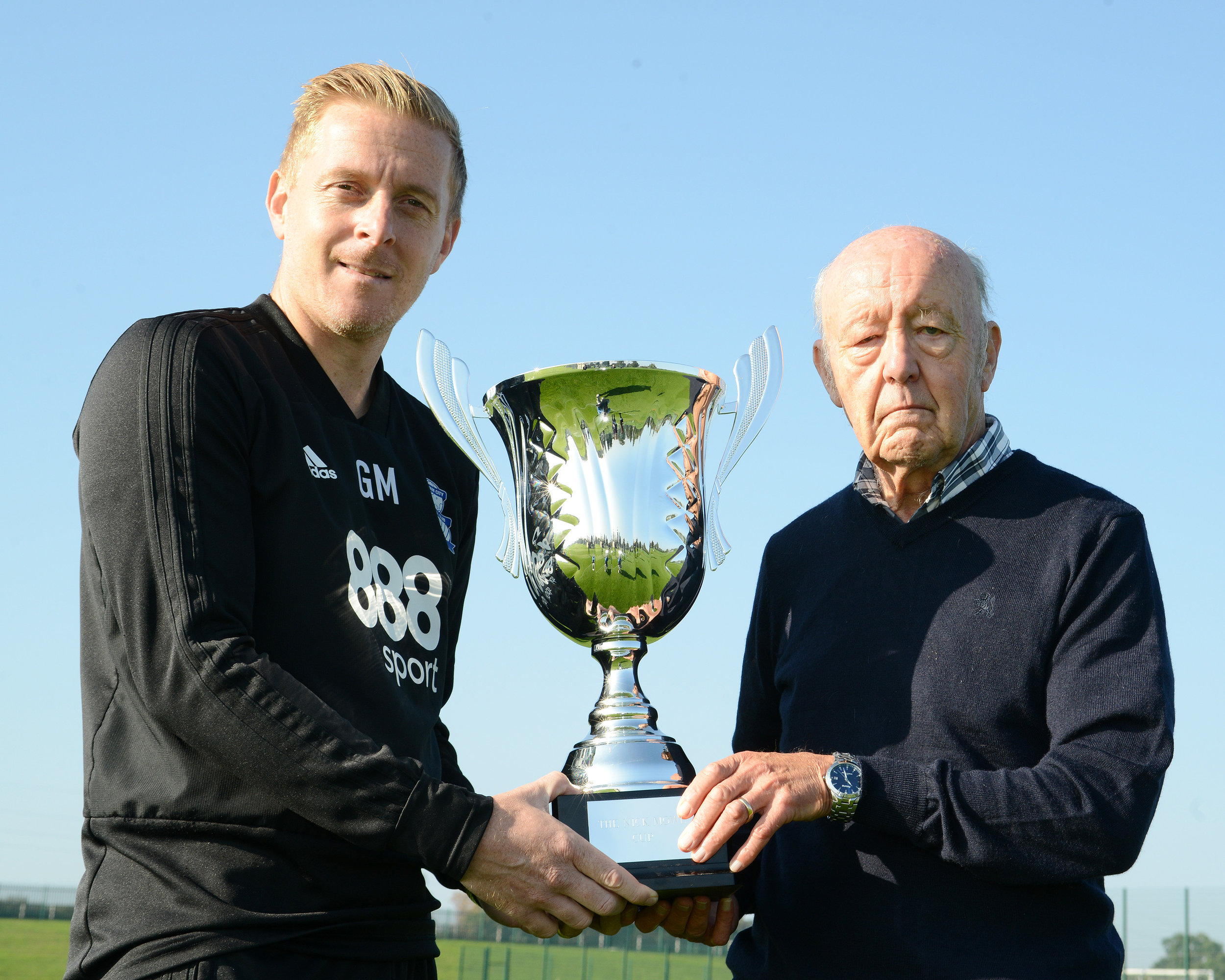 Garry Monk with John Mowl and The Nick Mowl Cup.