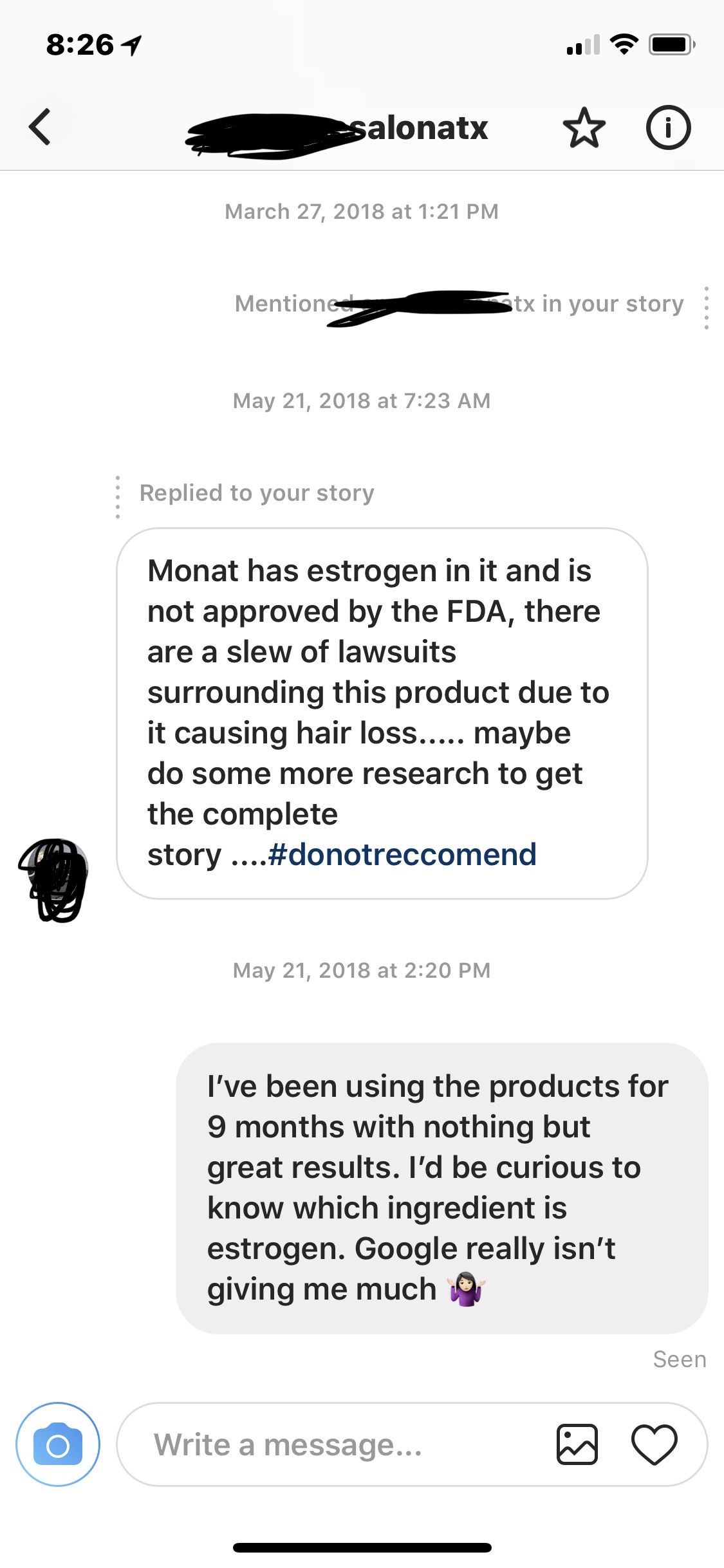 I've chosen to not show the salon name out of respect for those who work there. Throwing them under the bus isn't classy. I really just wanted real answers.